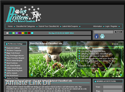 Website preview thumbnail for : Paws Critters Pet Related Classified